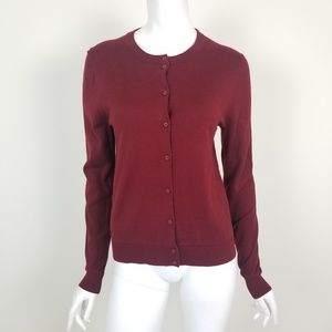 J. Crew Dark Red Caryn Cardigan Sweater Sz Medium
